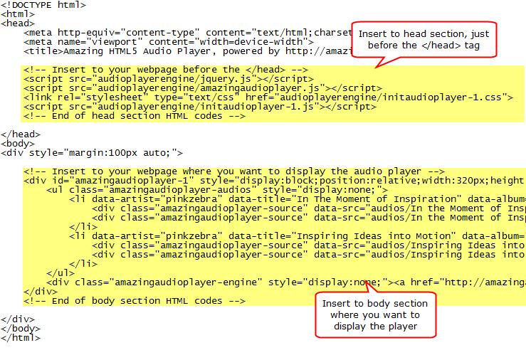 web player mp3 html code