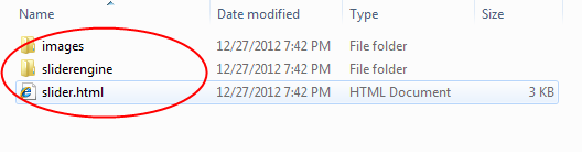 jQuery slider files
